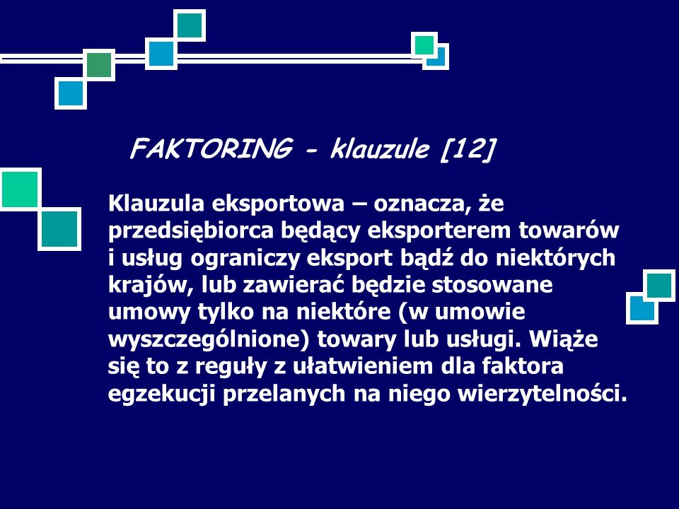 FAKTORING - klauzule [12]
